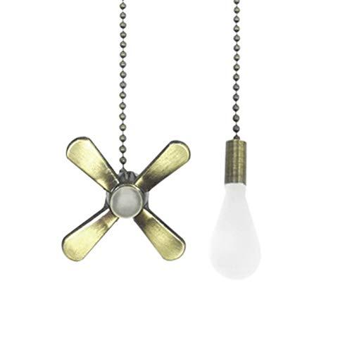 kinnter Zugkettenset in Form Eines Metallventilators und Einer Glühbirn - Klar Kristall Pull Ketten Verlängerung mit Verbinder für Decken Licht Fan Kette