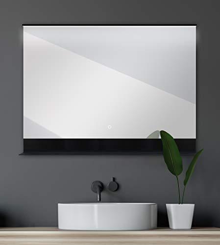 Talos Badspiegel mit Beleuchtung, Schwarz, 80 x 60 cm