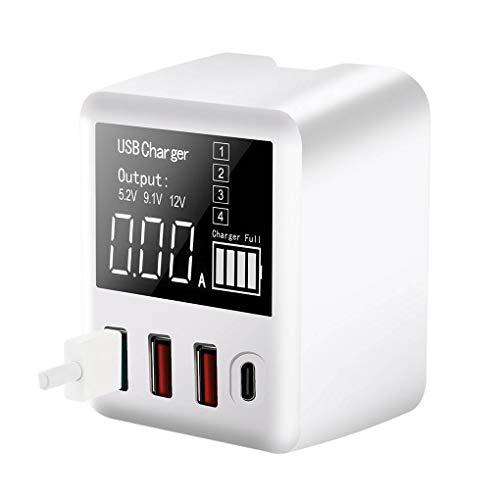 Adaptador de carga de la tableta del teléfono móvil del cargador de 40 vatios del cargador LED del adaptador del viaje del LED de la pantalla LED Adaptador de corriente USB, A9T + y enchufe de la UE