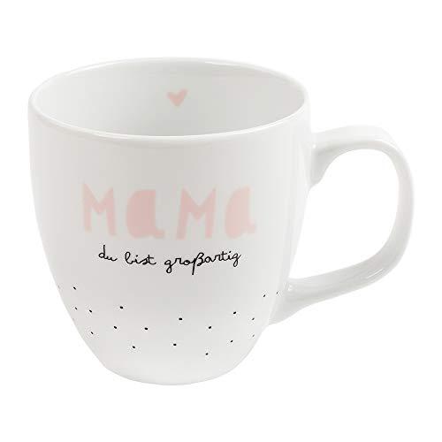 Odernichtoderdoch Jumbo-Tasse Mama, du bist großartig - Kaffeetasse aus Porzellan mit Punkt-Motiv - Volumen 0,4 l, Höhe 9,5 cm, weiß