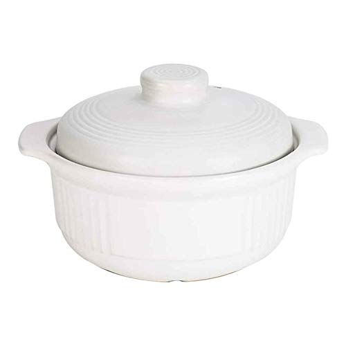 Casserole Cookware Pot d'argile for cuisson de l'argile Casseroles Cocotte avec couvercle, Cook Taille de la famille avec Cocottes To Last Vous Poignées de Lifetime-robuste de facilité intégré, blanc-