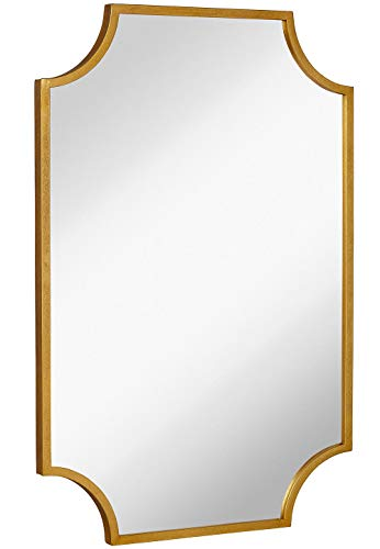 Hamilton Hills Gold Metal Framed Wall Mirror Scalloped Shape Mirror 24