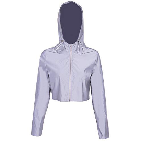 Reflecterende windjack Dames Reflecterende Hoodie Shirt Mode Korte Hoge Zichtbaarheid Jas Outdoor Sport Bike Running Joggen Fietsen Vrije tijd Hip Hop Windbreaker Nacht Sport Jas Nacht Wor