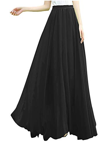 v28 Women Full/Ankle Length Elastic Retro Maxi Chiffon Long Skirt (S,Black)