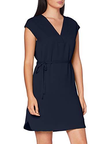 Vila Clothes Vijahula S/s Belt Dress/su Vestido, Navy Blazer, 38 para Mujer