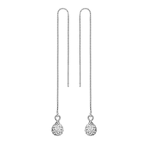 Sterling Silver Threader Earrings Crystal Disco Ball Long Drop Earrings 9cm Pull Through Ear Threaders for Women RIVERTREE