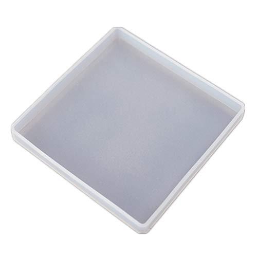 MISHITI Coaster Storage Box Juego de moldes de Resina, Molde de Posavasos Cuadrado Sillicone con Soporte
