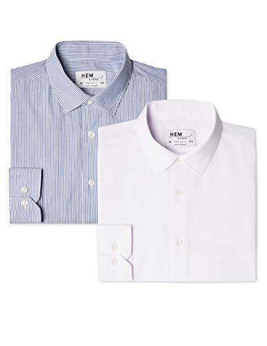 Marchio Amazon - find. Camicia a Quadri Regular Fit Uomo, Pacco da 2, Mehrfarbig (Bengal Blue / White), 41 cm, Label: L
