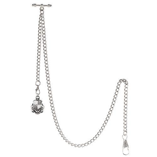 TREEWETO Taschenuhrkette mit T Bar Endstück Albert T-Bar Taschenuhr Kette mit Antiker Schild-Anhänger und 2 Haken für Weste Knopfloch Silber