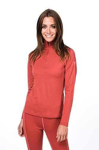 super.natural Base 1/4 Zip 175 T-Shirt à Manches Longues en Laine mérinos. Femme, Tandori/Georgia Peach, XL