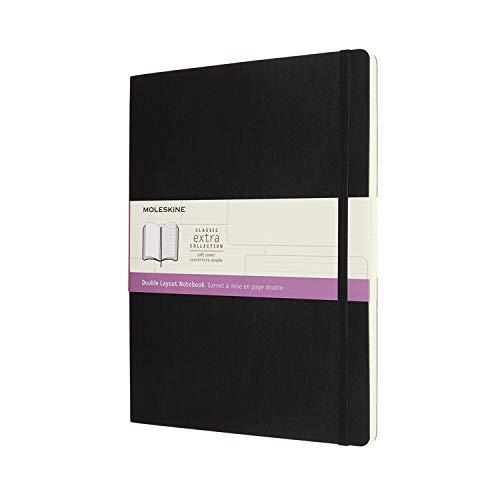 Moleskine NB413SBK - Cuaderno de doble formato, páginas en blanco y de rayas, tapa blanda, formato XL 19 x 25 cm, color negro