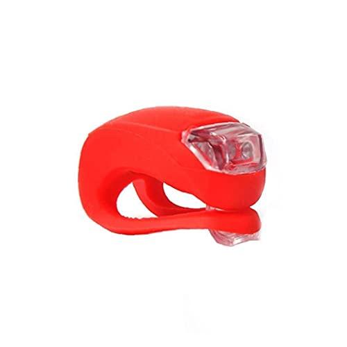 1PC Bicicleta luz LED Brillante Conjunto de Silicona Resistente al Agua para Bicicleta Parte Posterior del Frente lámpara Linterna de Ciclo de Flash Kit Set-Batería Incluida (Rojo)
