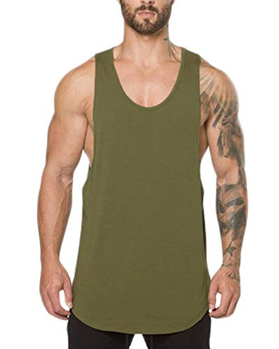 Shaoyao Herren Gym Muscle Fitness Weste Low Cut Bodybuilding Tank Top Lifting Fitness Outfit Ärmelloses Oberteil Armee-Grün 2XL