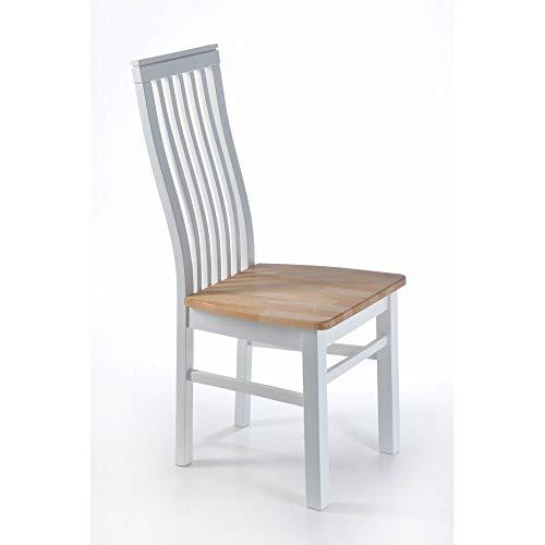 acerto BARI Massivholz-Stuhl Buche geölt für Küche & Esstisch ohne Polster mit hoher Lehne