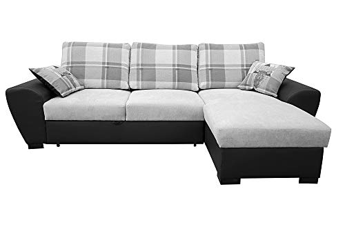 Alabama Corner Sofa Bed Black and Grey or Brown and Cream Fabric Leather With Storage (Right, Grey/Black)