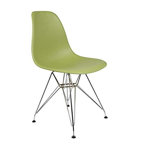 Icons Corner Pack 4 sillas Verde Oliva IMS Modelo Eiffel Patas cromadas