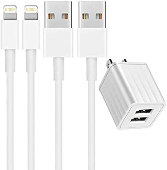 2-Pack 6ft MFi Certified Lightning Cable with Dual Port USB Wall Charger