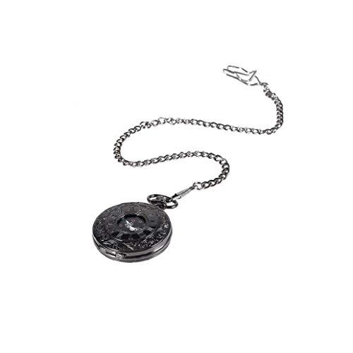 Sanfiyya Patrón Romana Exquisito Reloj de Bolsillo Retro Antiguos del Reloj de Cuarzo del dial de Lujo y la Cadena de Reloj del número Romano Reloj de la Cadena (Negro Superficie y Fina Cadena)
