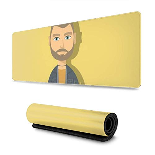 Ahdyr Mousepad Hipster Cartoon Character Man With Beard And Necklace Flat Desk Protective Keyboard Keyboard Anime Computer Laptop Non-Slip 11.8x31.5 in Durable Mousepad Printed School Large Office C