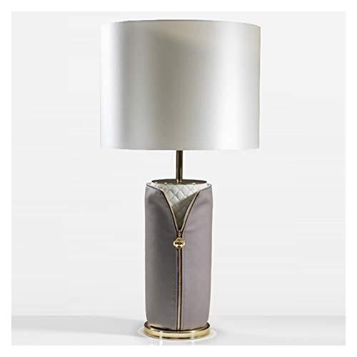 Lámpara para mesita de noche Cuero artificial lujo luz lámpara de mesa lámpara de cabecera posmoderna con beige pantalla de la tela for el dormitorio de la sala de la familia de noche Mesilla de noche