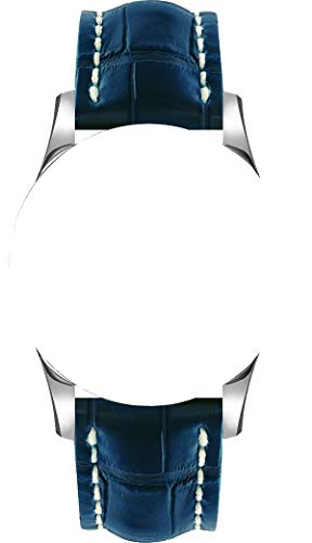 Cinturino 22/20 mm per orologi Breitling in pelle blu/beige, con fibbia argento