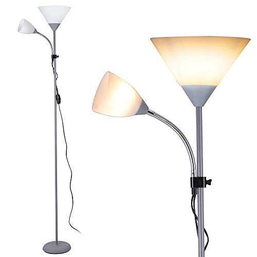 Bakaji Lámpara de pie de diseño moderno de metal con doble pantalla brazo flexible, luz orientable, altura 180 cm, para casa, salón, dormitorio (pantalla de cono)