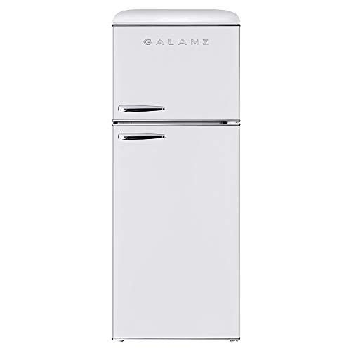 Galanz GLR10TWEEFR True Top Freezer Retro Refrigerator Frost Free Dual Door Fridge, Adjustable Electrical Thermostat Control, 10.0 Cu Ft, White