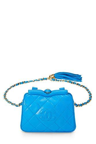 CHANEL Blue Lambskin Kiss Lock Belt Bag (Pre-Owned)