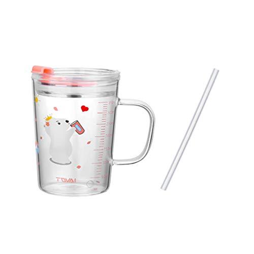 Cabilock Kleinkind Tassen Kinder Tassen 350Ml Mit Stroh Deckel Leck Beweis Trinken Gläser Milch Tasse Dekorative Trinken Gläser Für Morgen Tee Kaffee Milch