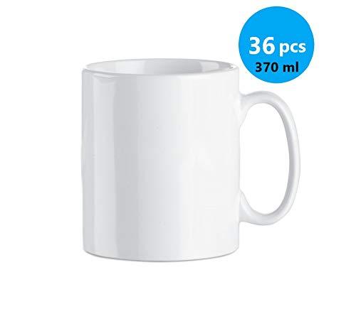Publiclick Lote 36 Tazas Blancas,Tazas cerámicas 350 ml. Presentada en Caja Individual, Tazas para Pintar, Boda, Tazas Ceramica, Med 9.8 x cm- 8.2 Ø -320gr (Ceramica Sublimación)