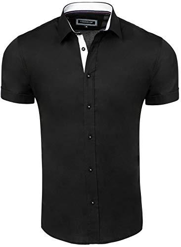 CARISMA Casual Herren Hemd Kurzarm Slim-Fit für Freizeit Business Hochzeit Black L