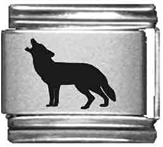 Wolf Howling Laser Italian Charm Clearly Charming 080-040-130-0043