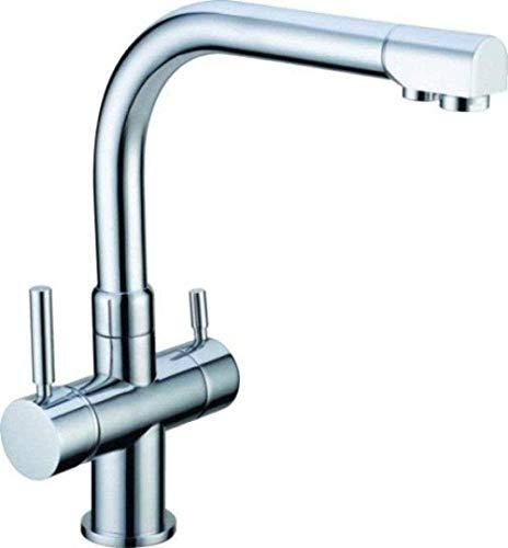 Grifo cromado de tres vías, adecuado para mezclador de fregadero de grifo de cocina purificador de agua Amway