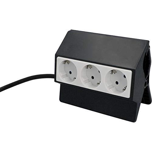 Unitec 30893 Klemmsteckdose inkl. Zuleitung und Netzstecker | 3 Steckdosen | Klemmhalterung | Befestigungsclip | zweifarbig