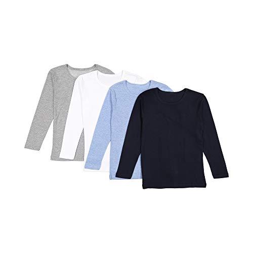 Brix Baby Toddler Boys' Long Sleeve - 4-Pack Cotton Tagless Tee Shirts. 12m