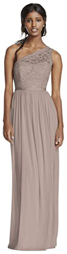 Long One Shoulder Lace Bridesmaid Dress Style F17063, Biscotti, 22