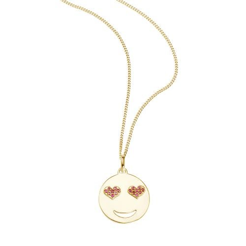 SO COSI Halskette, Anhänger mit Kette Smiley Silber goldfarben mit Swarovskielementen 16-007