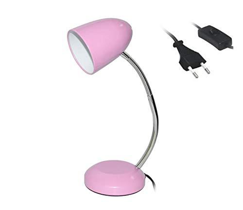 Lámpara de Escritorio, Flexo Escritorio, Cable con Interruptor, Lámpara de Mesa para Estudiantes y Oficinas (Rosa)