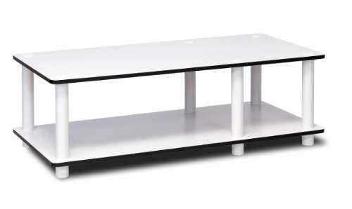 Furinno Just No Tools Mid TV Stand, White w/White Tube