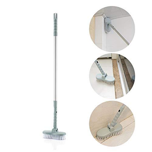 Volwco Waschbesen Abnehmbare Bodenbürste mit Aluminium Teleskop-Stiel, 180 Grad drehbarem Bürstenkopf, Bodenreinigungsbürste für Badezimmerboden, Küche, Wand, Fliesen und Ecken