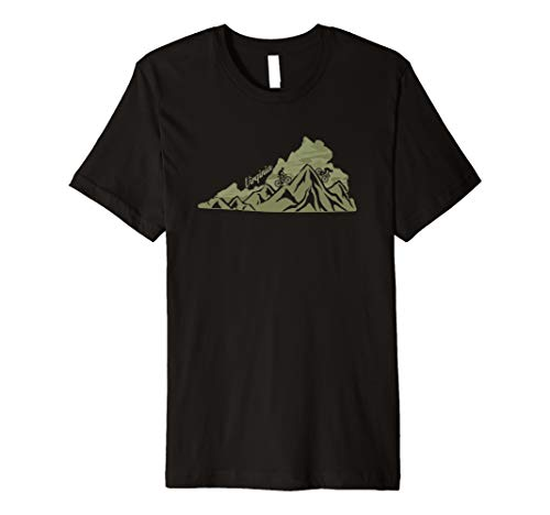 Virginia Mountain Bike Riding VA Biking Blue Ridge State Map Premium T-Shirt