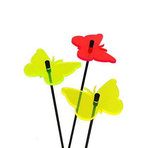 SunCatcher: SONNENFÄNGER 3er Set 'Schmetterling' fluoreszierende Gartendeko | 6cm ø¸ mit 25cm Stab | Gartenstecker Geschenk decoration