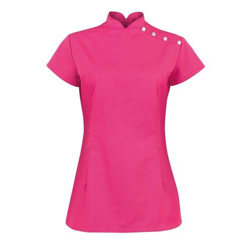 Alexandra Damen Arbeitstunika für Beauty- und Spa-Bereich mit Stehkragen (38) (Kräftiges Pink)