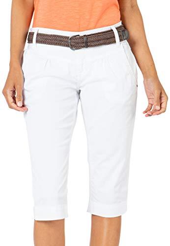 Fresh Made Damen Capri-Hose mit Gürtel im Chino Stil White M