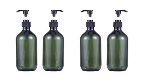 TOPBATHY 4Pcs 500Ml Leere Plastikpumpenflaschen Pumpflaschenlotionsspender Ideal für Cremes Körperwäsche Handseife (Grün)