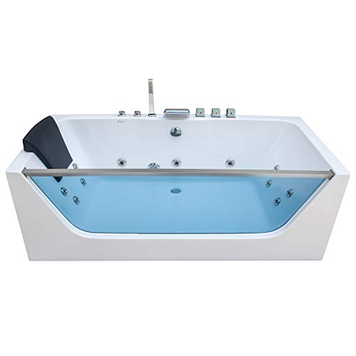 Empava 67 in. Acrylic Alcove Whirlpool Bathtub-Hydromassage Rectangular Jetted Soaking Tub with Center Drain-Waterfall Faucet, 67 Inch, White