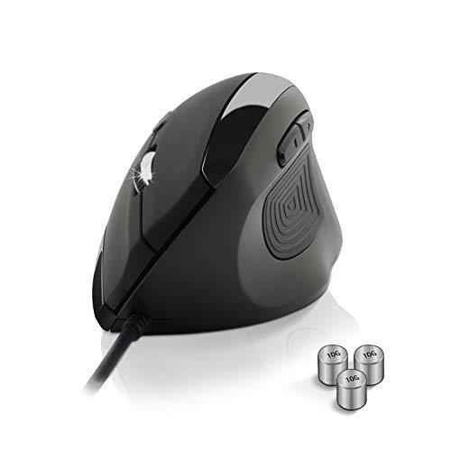 NEWWAY – Mouse verticale e ergonomico 3.200 DPI, cavo USB, peso regolabile –Ideale per riposare polso, mano e avambraccio - Previene la sindrome da mouse e l'epicondilite