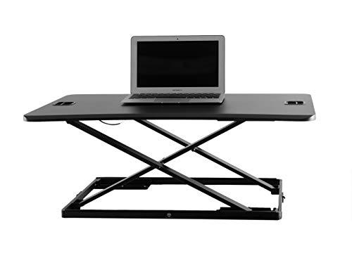 Height Adjustable Single Level Standing Desk - 31' Wide Sit to Stand Desk Converter Fully Assembled Standing Workstation Riser Black