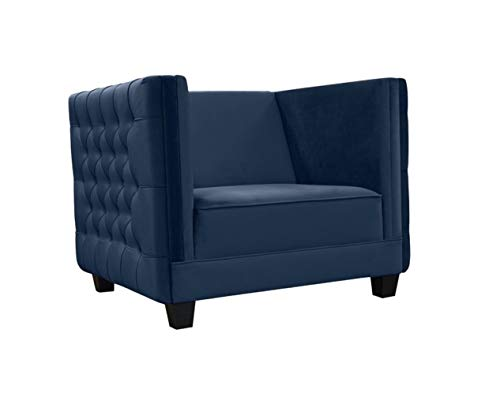 Handgefertigter Samtsessel, moderner Sessel (Navy blau)