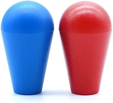 Arcity 2 Pcs Arcade Joystick Oval Bat Top Topper Knob Ball Top Handle Knob American Type Style Blue and Red for Zippy SANWA SEIMITSU Arcade1up Machine Console Cabinet New